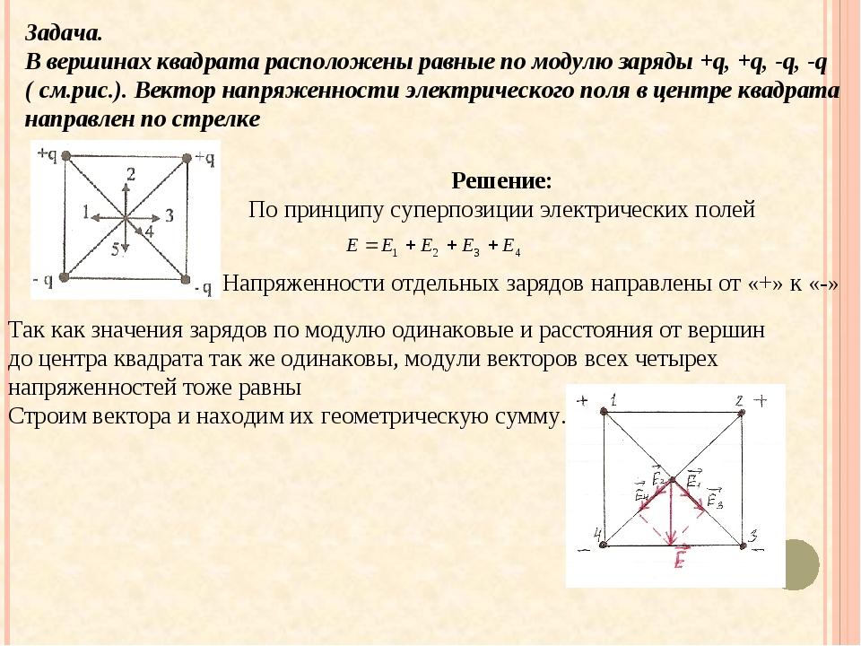 Задача. В вершинах квадрата расположены равные по модулю заряды +q, +q, -q, -...