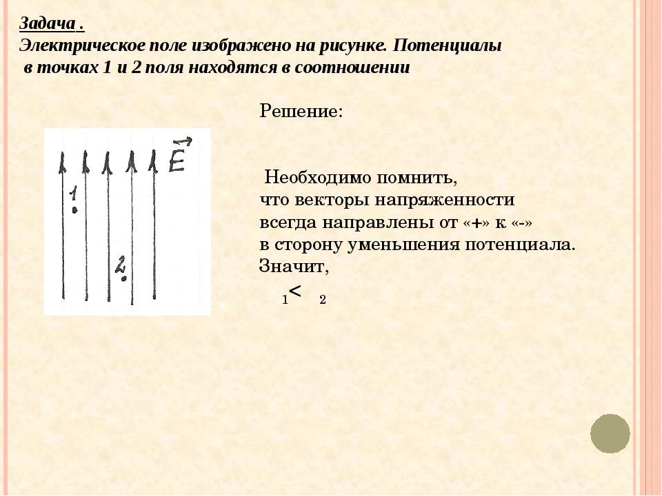Задача . Электрическое поле изображено на рисунке. Потенциалы в точках 1 и 2...