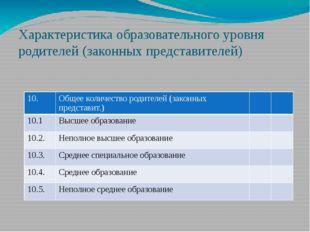Характеристика образовательного уровня родителей (законных представителей) 10