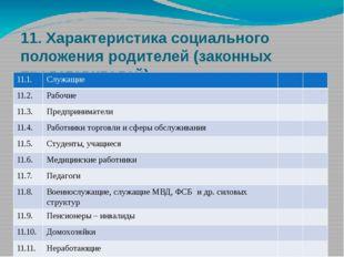 11. Характеристика социального положения родителей (законных представителей)