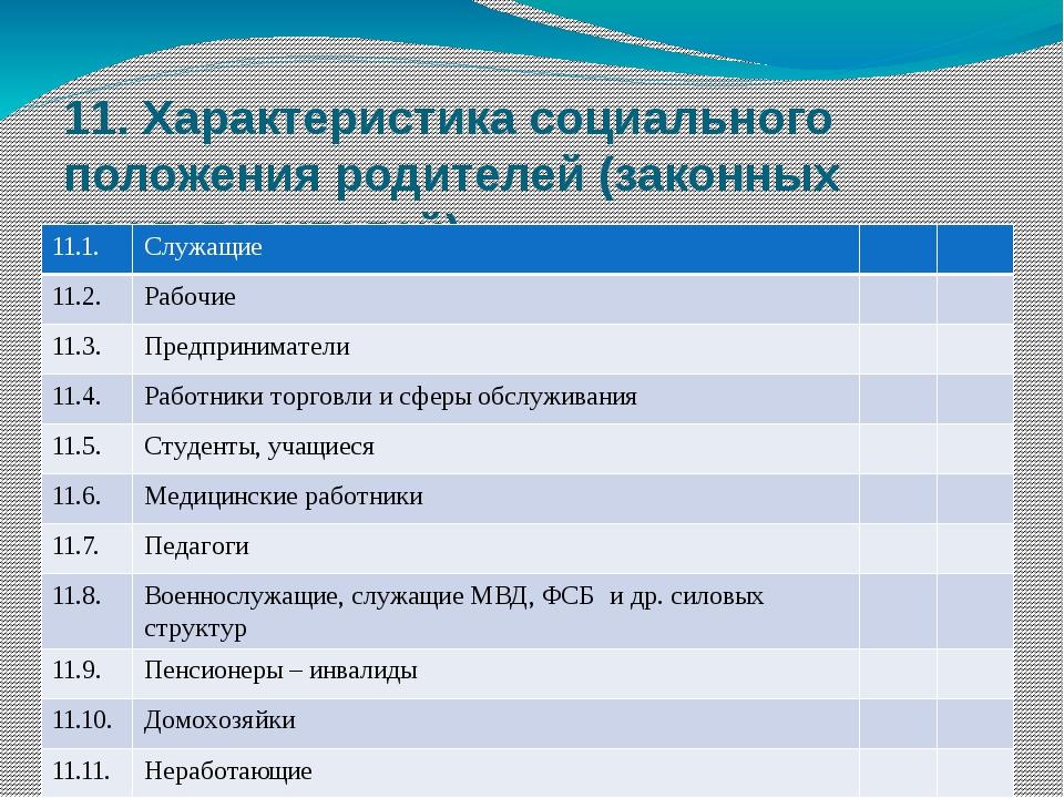 11. Характеристика социального положения родителей (законных представителей)...