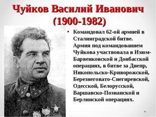 Чуйков Василий Иванович (1900-1982) Командовал 62-ой армией в Сталинградской