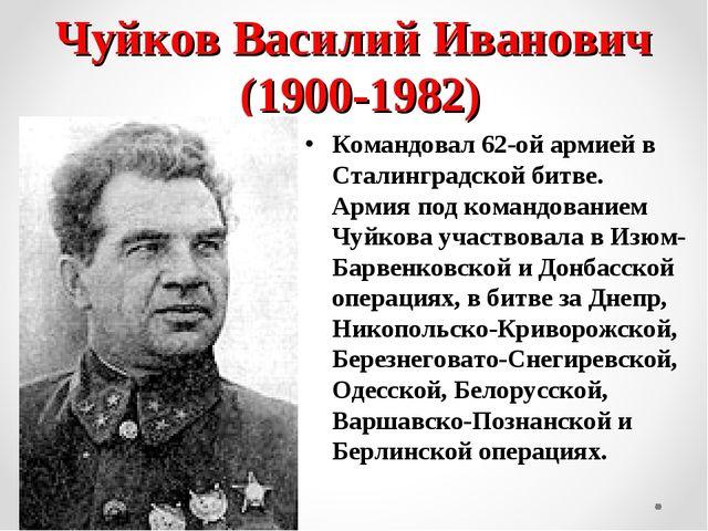 Чуйков Василий Иванович (1900-1982) Командовал 62-ой армией в Сталинградской...