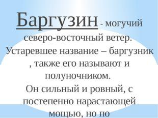 Баргузин - могучий северо-восточный ветер. Устаревшее название – баргузник ,