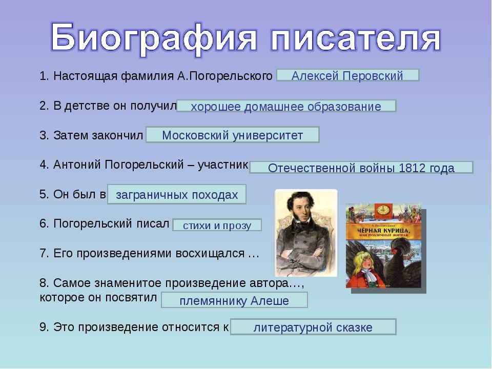 1. Настоящая фамилия А.Погорельского … 2. В детстве он получил… 3. Затем зако...