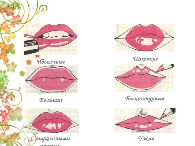 Виды губ и корректировка Идеальные Широкие Большие Бесконтурные С опущенными...