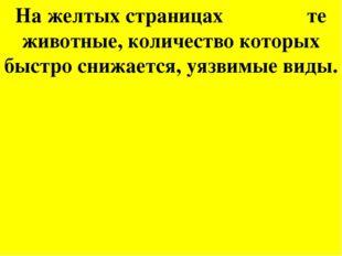 На желтых страницах те животные, количество которых быстро снижается, уязвимы