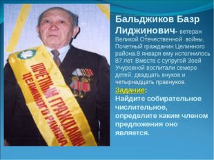 Бальджиков Базр Лиджинович- ветеран Великой Отечественной войны, Почетный гра
