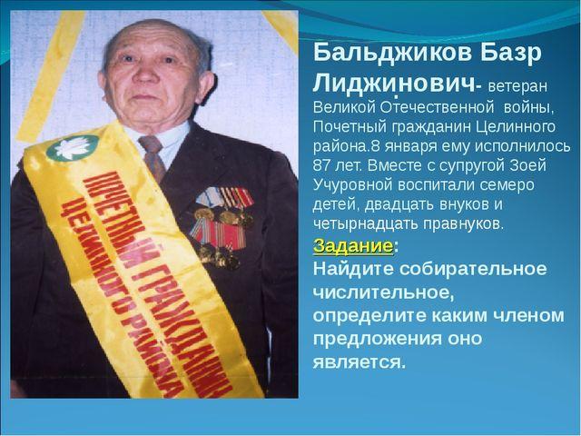 Бальджиков Базр Лиджинович- ветеран Великой Отечественной войны, Почетный гра...