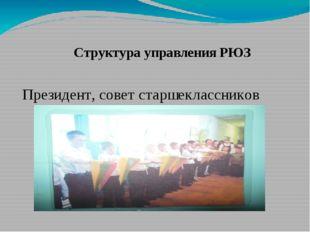Структура управления РЮЗ Президент, совет старшеклассников