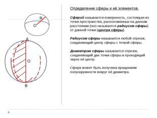 R O Определение сферы и её элементов. Сферой называется поверхность, состоящ