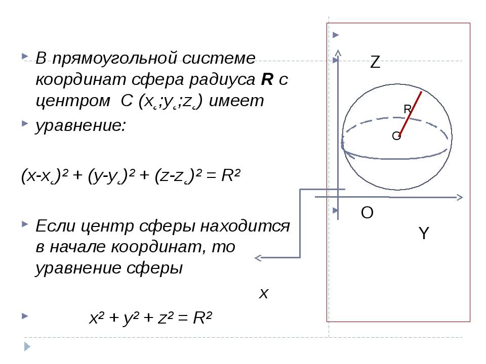 Z O Y В прямоугольной системе координат сфера радиуса R с центром C (x˛;y˛;z...