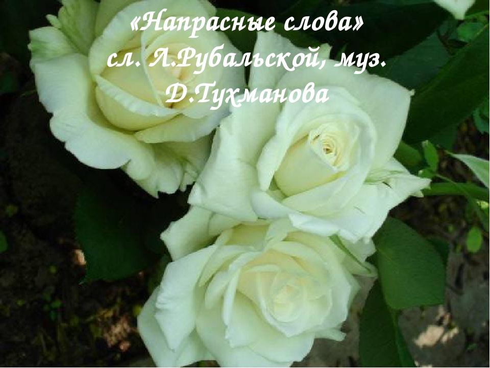«Напрасные слова» сл. Л.Рубальской, муз. Д.Тухманова