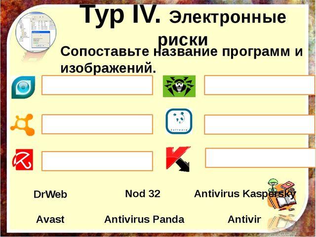 Сопоставьте название программ и изображений. Antivirus Kaspersky Nod 32 Аvas...