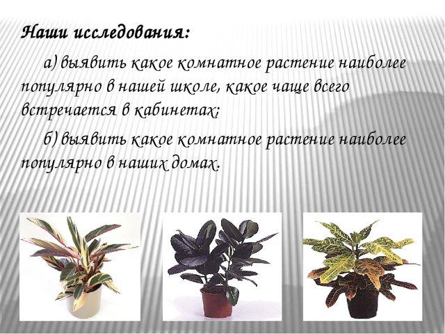 Наши исследования: а) выявить какое комнатное растение наиболее популярно в...