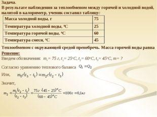 Задача. В результате наблюдения за теплообменом между горячей и холодной водо