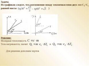 Задача. Из графиков следует, что соотношение между теплоемкостями двух тел С2