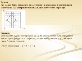 Задача. Газ может быть переведен из состояния 1 в состояние 2 различными спос