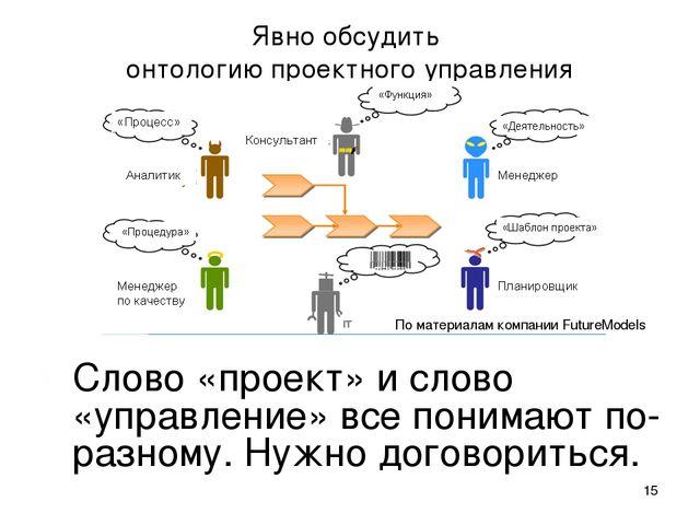* Явно обсудить онтологию проектного управления По материалам компании Future...