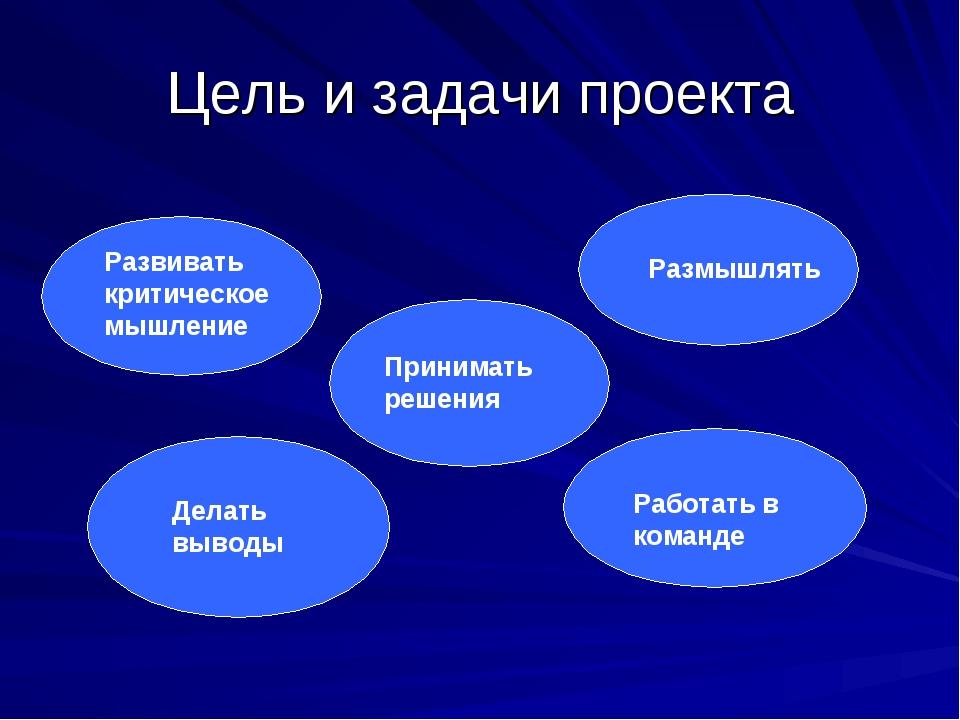 Цель и задачи проекта Развивать критическое мышление Делать выводы Принимать...