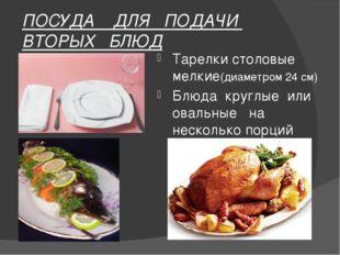 ПОСУДА ДЛЯ ПОДАЧИ ВТОРЫХ БЛЮД Тарелки столовые мелкие(диаметром 24 см) Блюда