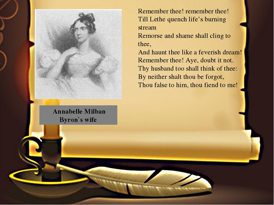 Annabelle Milban Byron`s wife Remember thee! remember thee! Till Lethe quenc...