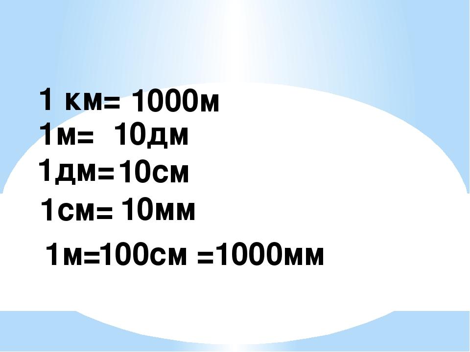 1 км= 1000м 1м= 10дм 1дм= 10см 1см= 10мм 1м= 100см =1000мм