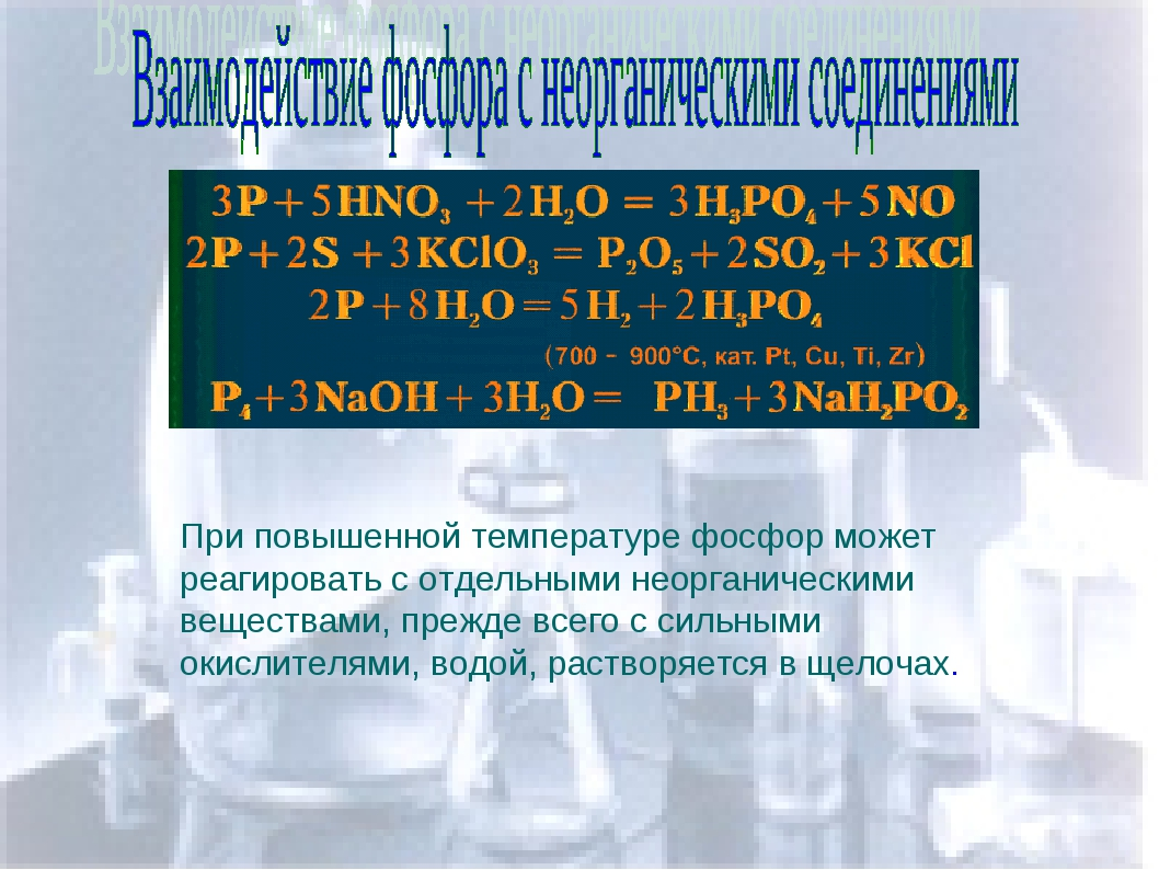 Взаимодействие фосфора с неорганическими соединениями При повышенной температ...