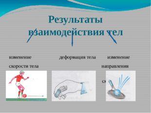 Результаты взаимодействия тел изменение деформация тела изменение скорости те
