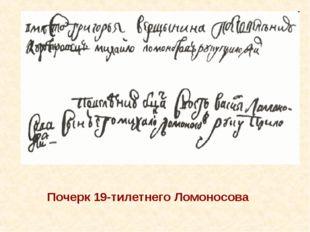 Почерк 19-тилетнего Ломоносова