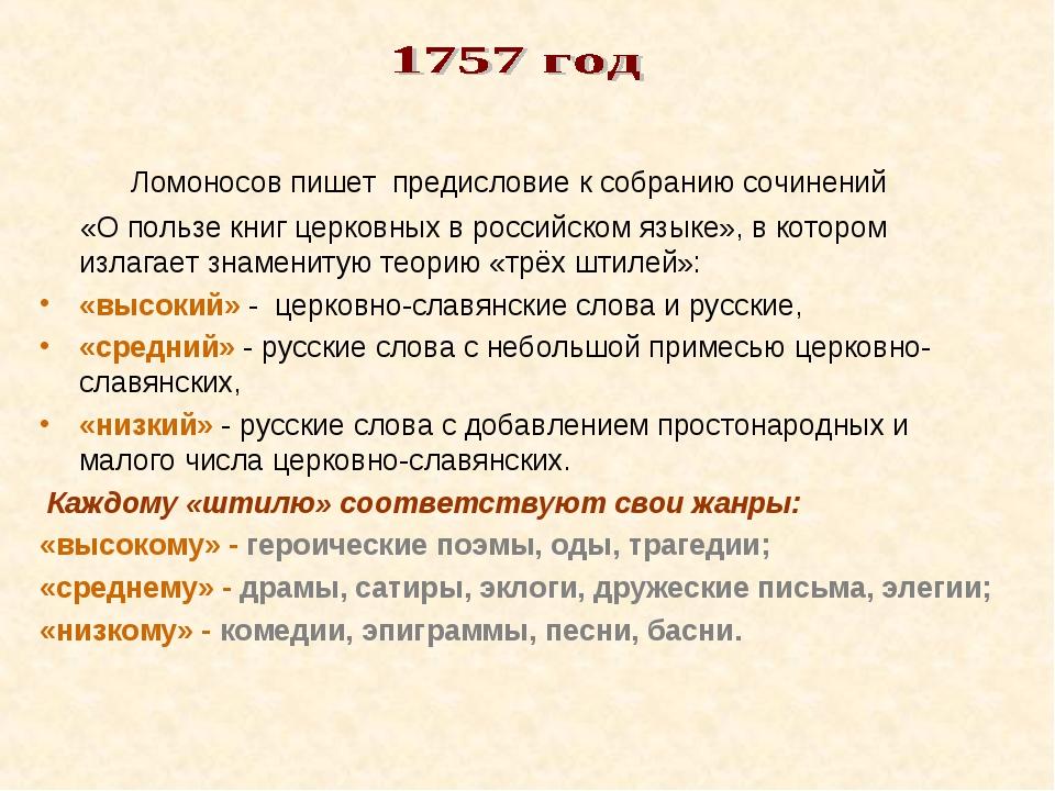 Ломоносов пишет предисловие к собранию сочинений «О пользе книг церковных в...