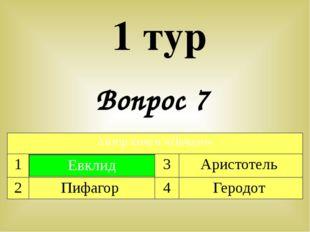 Вопрос 7 1 тур Автор книги «Начало» 1 Евклид 3 Аристотель 2 Пифагор 4 Геродот