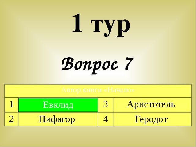 Вопрос 7 1 тур Автор книги «Начало» 1 Евклид 3 Аристотель 2 Пифагор 4 Геродот...