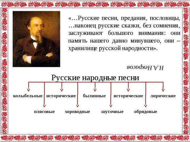 Н.А.Некрасов «…Русские песни, предания, пословицы, …наконец русские сказки, б...
