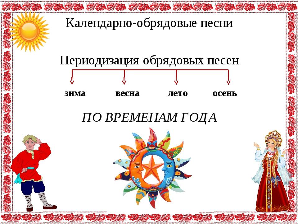 Календарно-обрядовые песни Периодизация обрядовых песен зима весна осень лето...