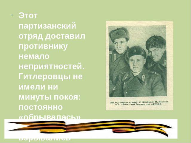 Этот партизанский отряд доставил противнику немало неприятностей. Гитлеровцы...
