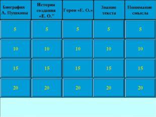 10 15 20 5 10 15 20 5 10 15 20 5 10 15 20 5 10 15 20 5 Биография А. Пушкина И