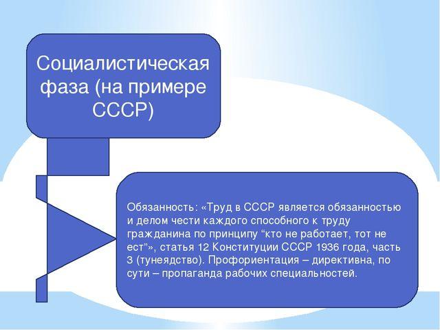 Социалистическая фаза (на примере СССР) Обязанность: «Труд в СССР является об...
