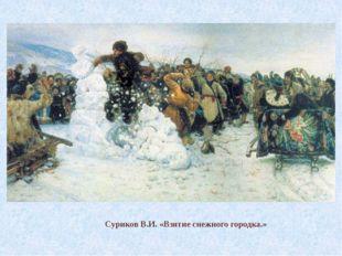 Суриков В.И. «Взятие снежного городка.»