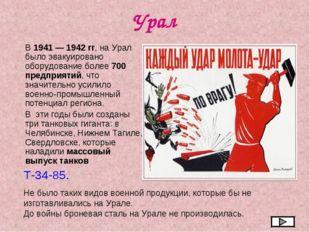 Урал В 1941 — 1942 гг. на Урал было эвакуировано оборудование более 700 предп