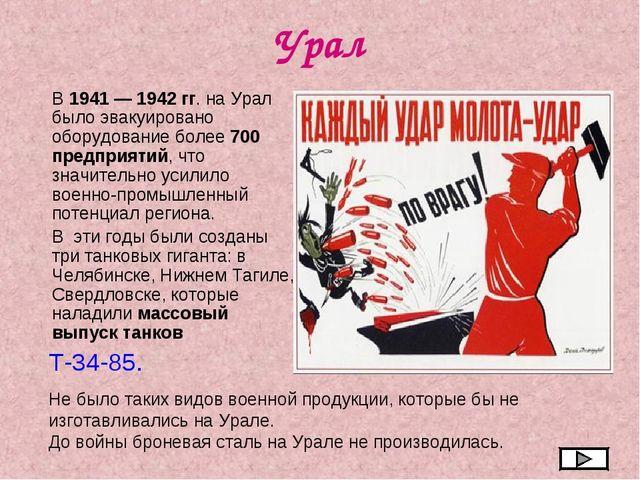 Урал В 1941 — 1942 гг. на Урал было эвакуировано оборудование более 700 предп...