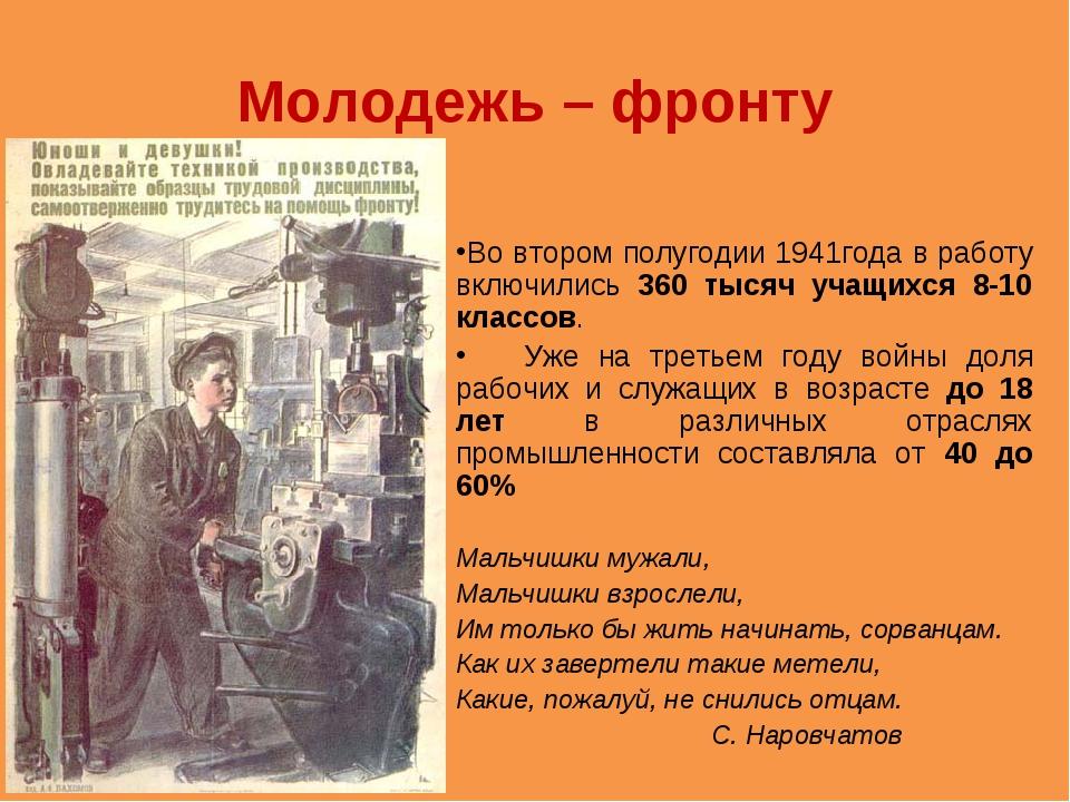 Молодежь – фронту Во втором полугодии 1941года в работу включились 360 тысяч...