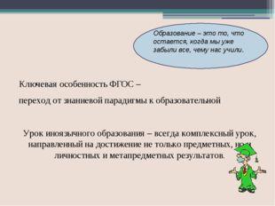 Переход на новый ФГОС означает осознание того, что: Учебный предмет «ИЯ» Обр
