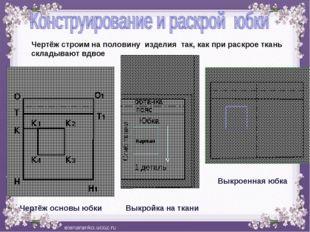 О О1 Н Н1 T Т1 К К1 К2 К3 К4 бка Юбка 1 деталь Чертёж основы юбки Выкройка н