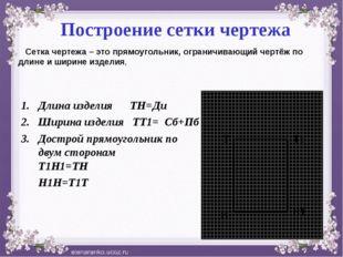 Построение сетки чертежа Длина изделия ТН=Ди Ширина изделия ТТ1= Сб+Пб Достр