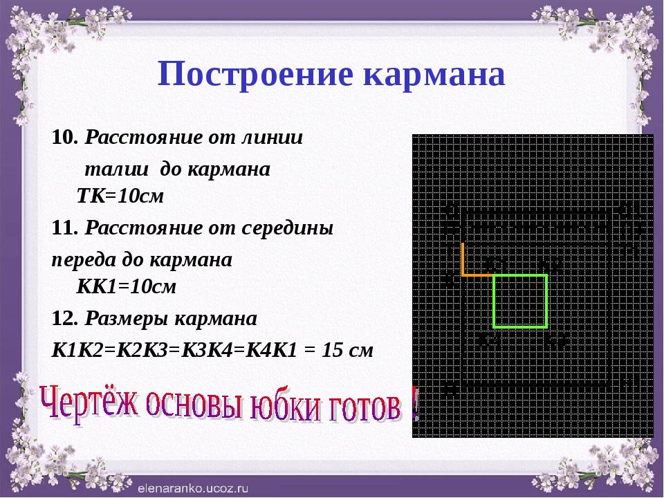 Построение кармана 10. Расстояние от линии талии до кармана ТК=10см 11. Расст...