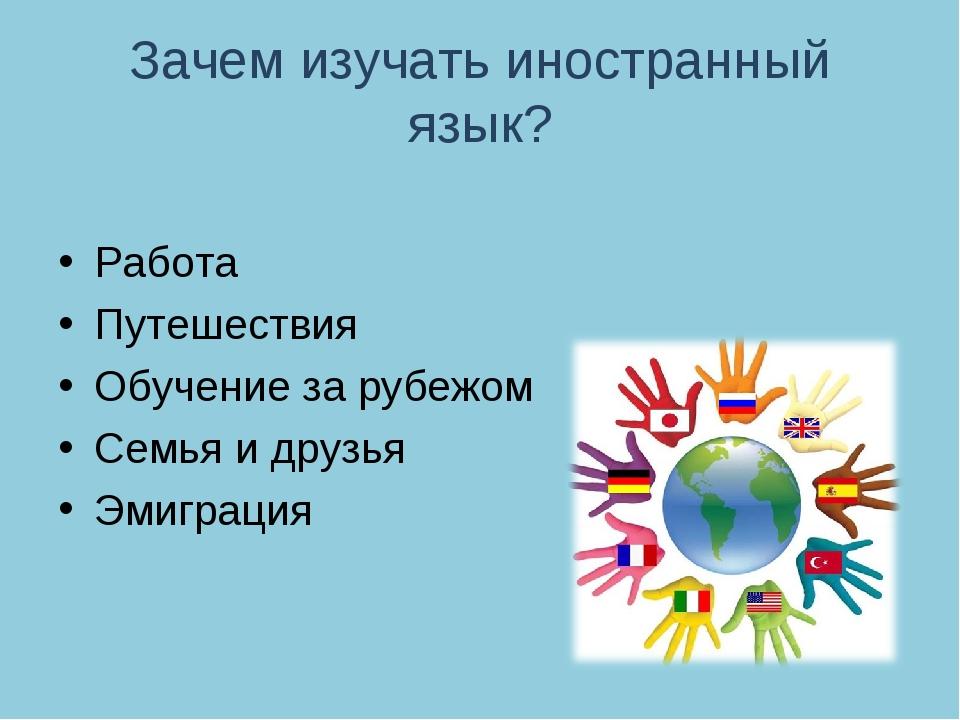 Зачем изучать иностранный язык? Работа Путешествия Обучение за рубежом Семья...