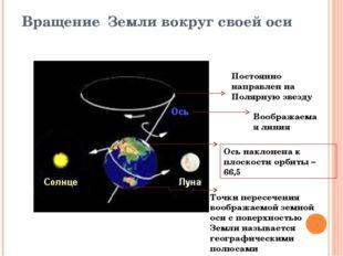 Вращение Земли вокруг своей оси Воображаемая линия Ось наклонена к плоскости