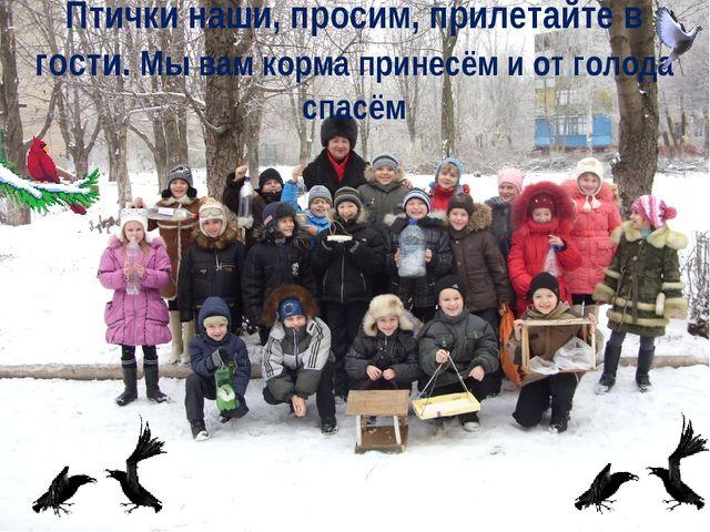 Птички наши, просим, прилетайте в гости. Мы вам корма принесём и от голода сп...