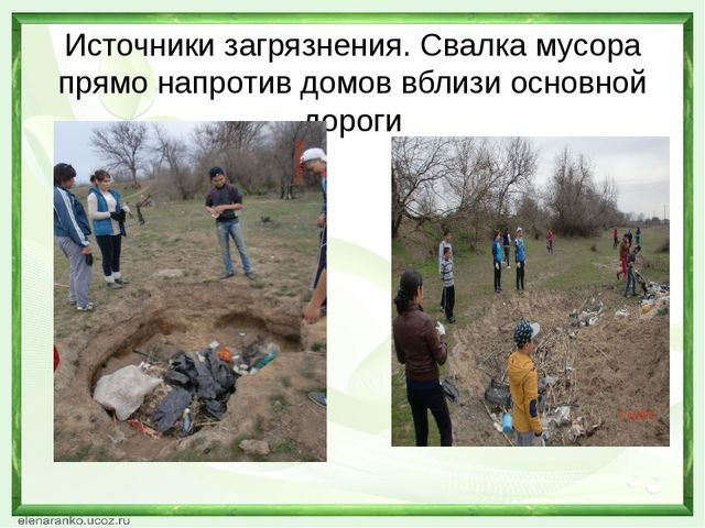 Источники загрязнения. Свалка мусора прямо напротив домов вблизи основной дор...